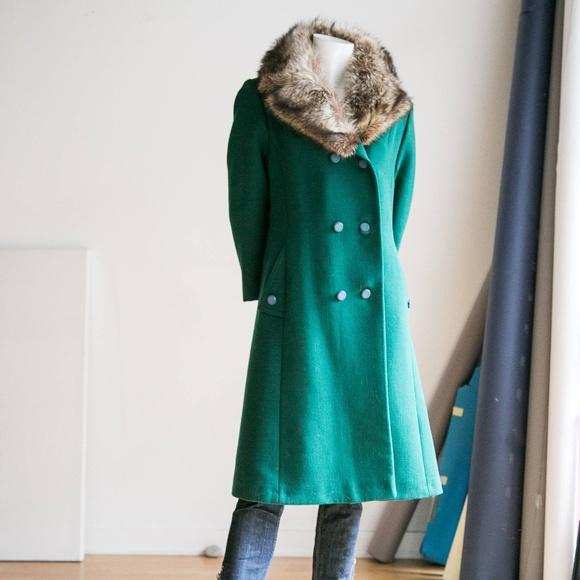 Unbranded | Vintage Jackets & Blazers - Emerald  Green Wool Coat w Fur Collar